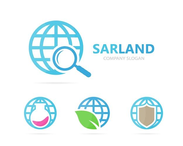 Conjunto de logotipo do planeta e lupa.