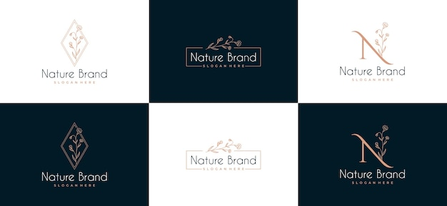 Conjunto de logotipo do quadro de folha de beleza