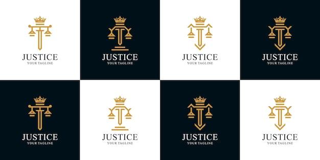 Conjunto de logotipo do rei do escritório de advocacia