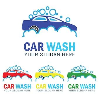 Conjunto de logotipo do serviço de lavagem de carros com espaço de texto para o seu slogan
