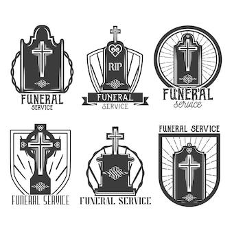 Conjunto de logotipo do serviço funeral