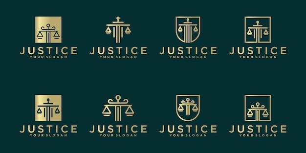 Conjunto de logotipo do símbolo de justiça