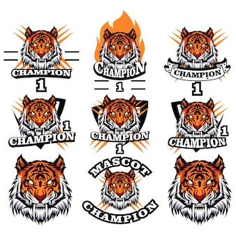 Conjunto de logotipo do tigre