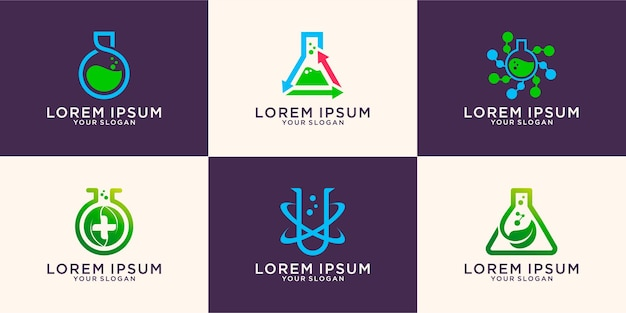 Conjunto de logotipo do tubo de laboratório orgânico verde bio, ícone, símbolo, modelo premium vector