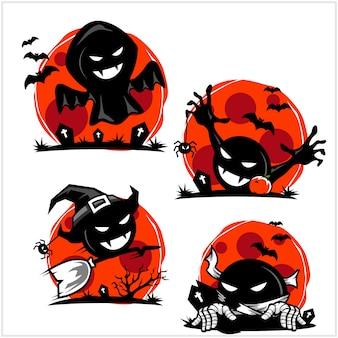 Conjunto de logotipo dos desenhos animados caveira halloween