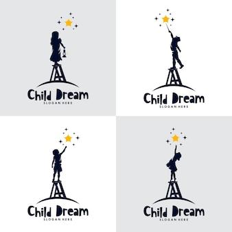 Conjunto de logotipo dos sonhos de crianças