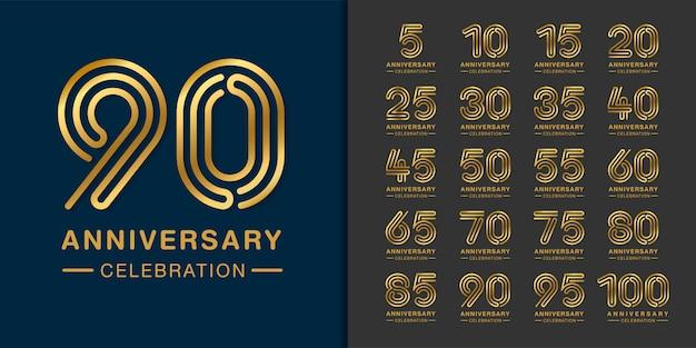 Conjunto de logotipo dourado de aniversário.