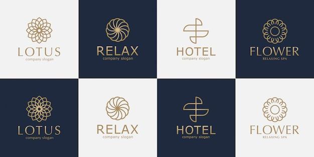 Conjunto de logotipo dourado de luxo