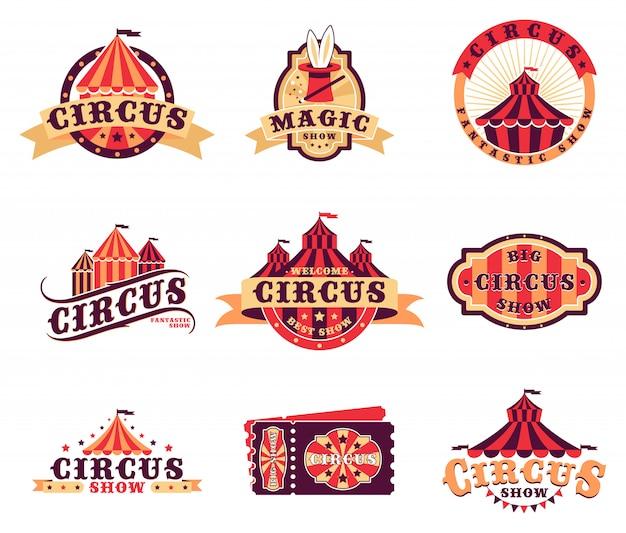 Conjunto de logotipo e adesivos de circo