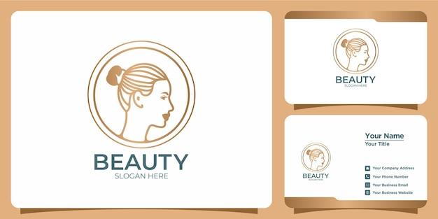 Conjunto de logotipo e cartão de visita de beleza