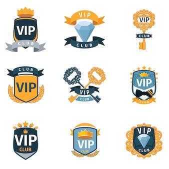 Conjunto de logotipo e emblemas do clube vip. selo dourado de luxo, celebridade da associação
