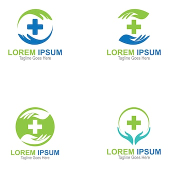 Conjunto de logotipo e símbolo da health cross