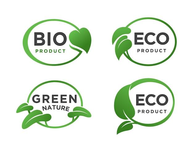 Conjunto de logotipo ecológico de folha oval verde