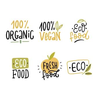 Conjunto de logotipo ecológico orgânico