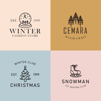 Conjunto de logotipo editável premade minimalista de inverno
