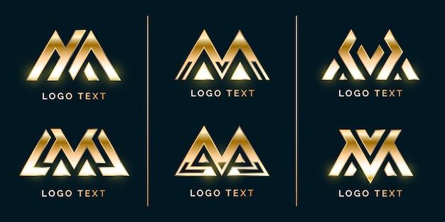Conjunto de logotipo elegant luxury m