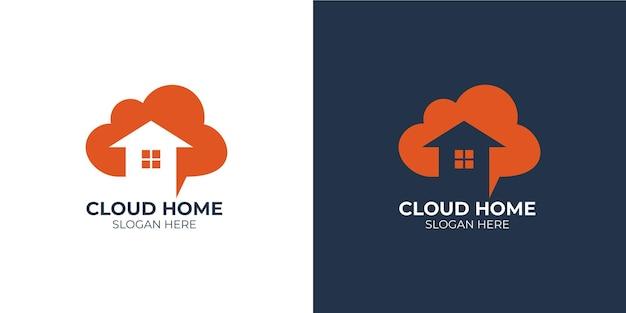 Conjunto de logotipo elegante casa na nuvem