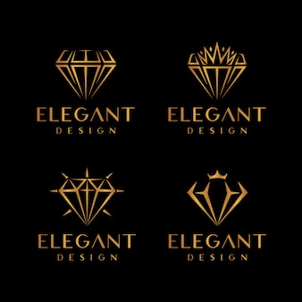 Conjunto de logotipo elegante de ouro diamante e joias