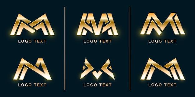 Conjunto de logotipo elegante e luxuoso m