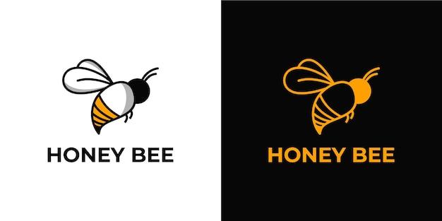 Conjunto de logotipo elegante e minimalista de abelha