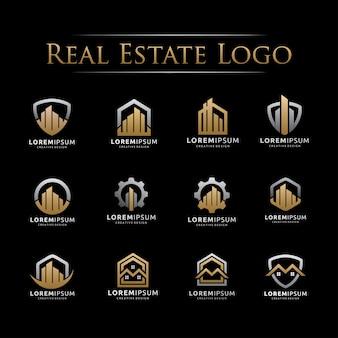 Conjunto de logotipo elegante imobiliária
