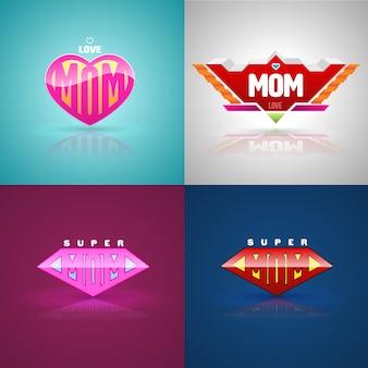 Conjunto de logotipo engraçado super mãe