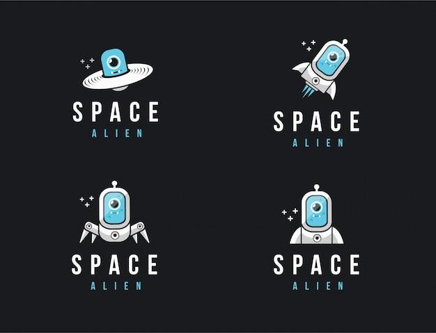 Conjunto de logotipo espaço mascote dos desenhos animados alienígenas