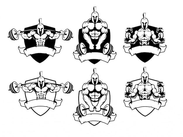 Conjunto de logotipo espartano de ginásio