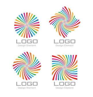 Conjunto de logotipo espiral colorido arco-íris brilhante. vetor