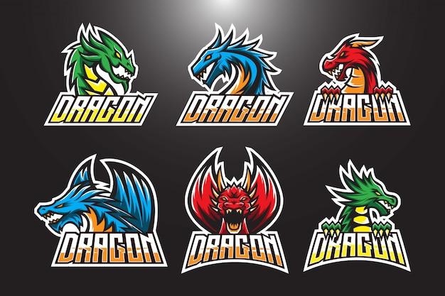 Conjunto de logotipo esport dragão