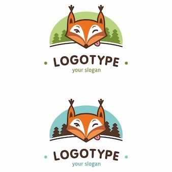 Conjunto de logotipo esquilo engraçado da floresta