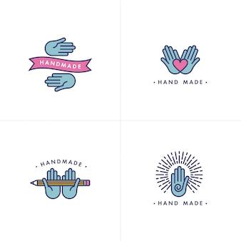 Conjunto de logotipo feito à mão