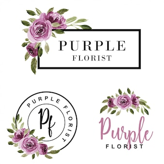 Conjunto de logotipo feminino aquarela flor roxa.
