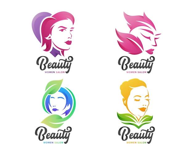 Conjunto de logotipo feminino beauty para empresa