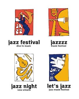 Conjunto de logotipo festival de música jazz