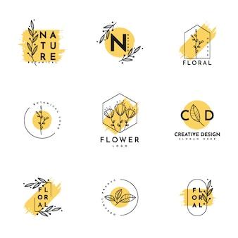 Conjunto de logotipo floral com moldura