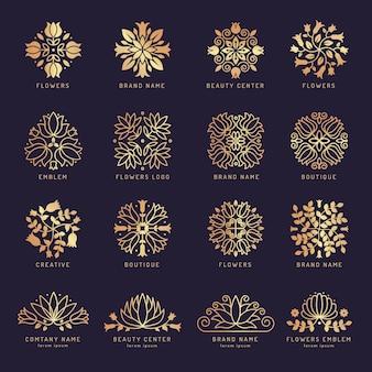 Conjunto de logotipo floral de beleza