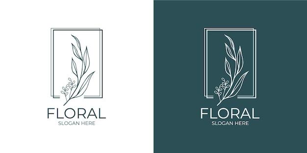 Conjunto de logotipo floral moderno e minimalista