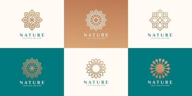 Conjunto de logotipo floral para beleza, cosméticos, ioga e spa.