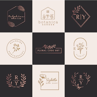 Conjunto de logotipo floral