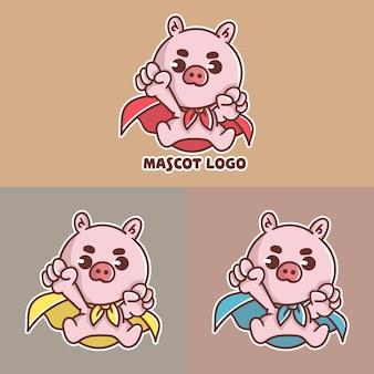 Conjunto de logotipo fofo do mascote super porco