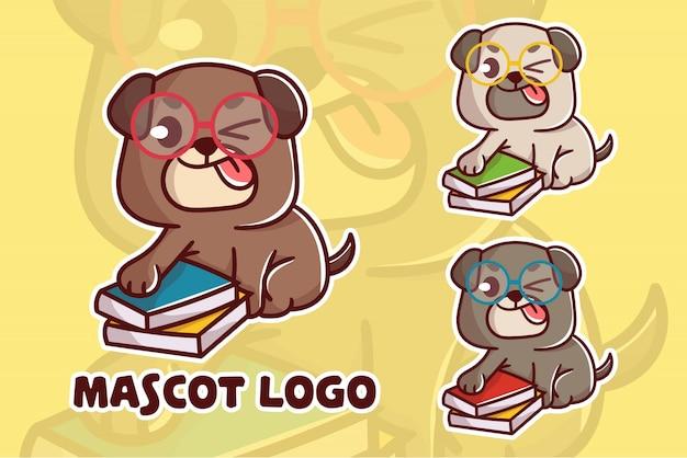 Conjunto de logotipo fofo mascote de cachorro inteligente