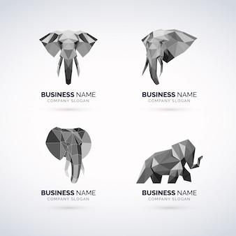 Conjunto de logotipo geomagnético de elefante