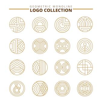 Conjunto de logotipo geométrico. símbolo do logotipo da linha. coleção de ornamento.