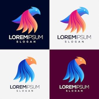 Conjunto de logotipo gradiente colorido de pássaro