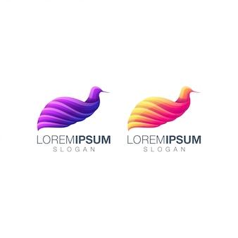 Conjunto de logotipo gradiente de pássaro
