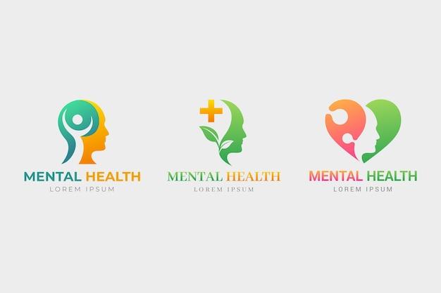 Conjunto de logotipo gradiente de saúde mental