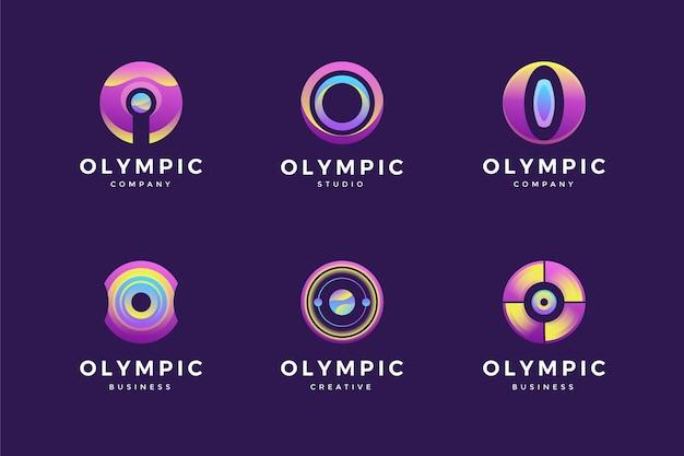 Conjunto de logotipo gradiente o