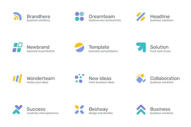 Conjunto de logotipo gráfico de cor simples com texto isolado