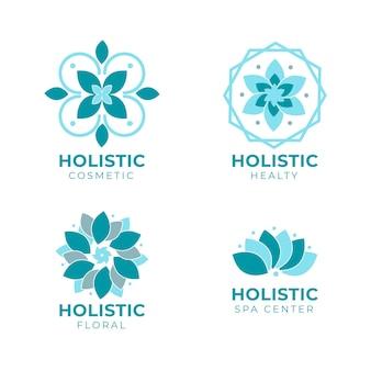 Conjunto de logotipo holístico desenhado à mão plana